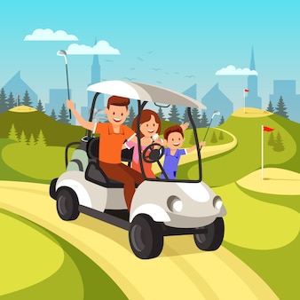 Woman and boy going to play golf by cart.