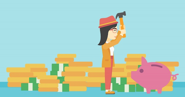 Woman breaking piggy bank vector illustration.