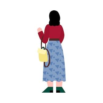 彼女の背中と立っている女性ブルネットフラット漫画ベクトルイラスト分離