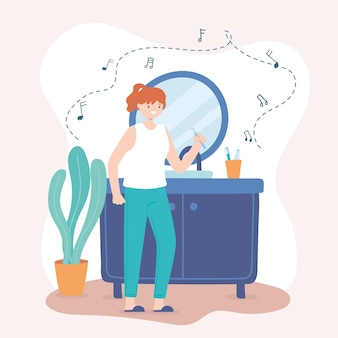 Женщина чистит зубы и слушает музыку