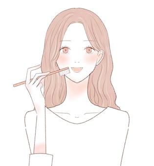 Женщина, чистящая зубы. на белом фоне.