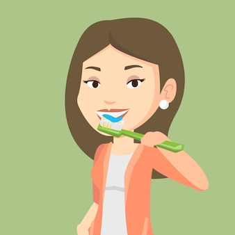 Woman brushing her teeth vector illustration.