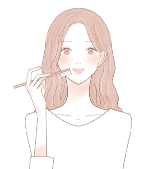 Woman brushing her teeth. on a white background.
