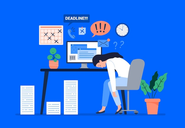 A woman burned out at work