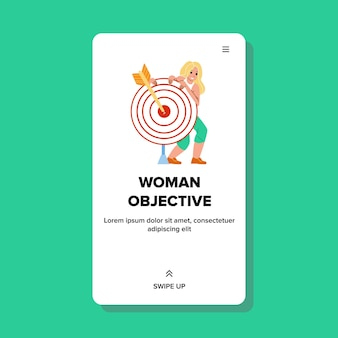 Woman business objective and strategy plan vector. young businesswoman objective and success goal achievement, lady standing near aim target with arrow. character web flat cartoon illustration