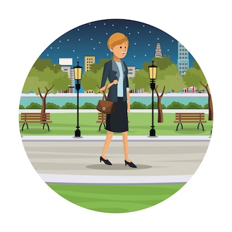 Woman business walk park view night
