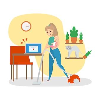 家で家事をして忙しい女性