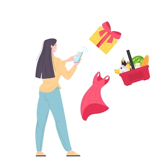 Woman buy food, gifts and clothing on mobile app using phone. delivery online order from phone. flat vector illustration.