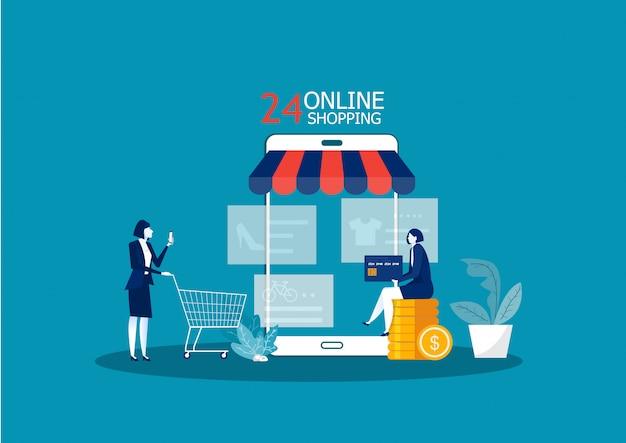 女性はオンラインストアで商品を購入します。携帯電話でオンラインショッピング。