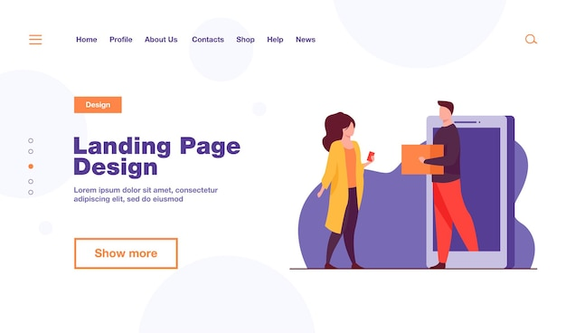 Woman buying clothes online and getting order landing page template