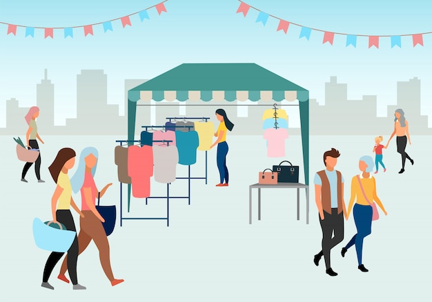 Woman buying clothes at street market flat illustration. trade tent, fair awning. buyer at outdoor local clothing store, shop. people walk summer fair. market tent with second hand clothes