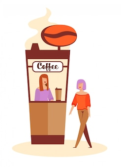 Woman buying coffee at coffee-box before dating