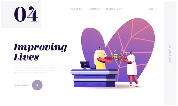 Woman buying food in grocery store landing page template.