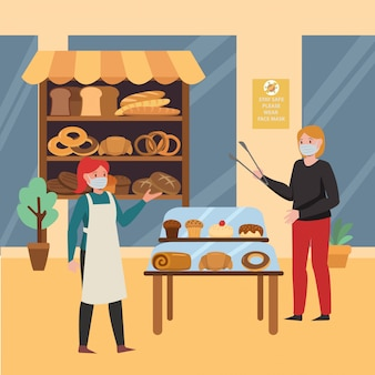 A woman buying fresh baked breads at bakery illustration