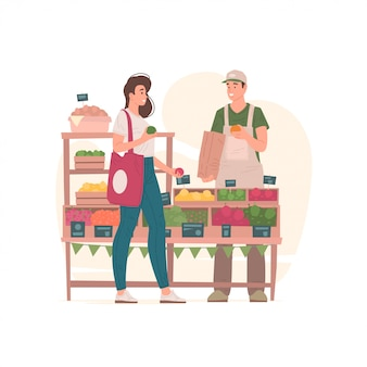 시장 그림에 남자에서 식료품을 사는 여자.
