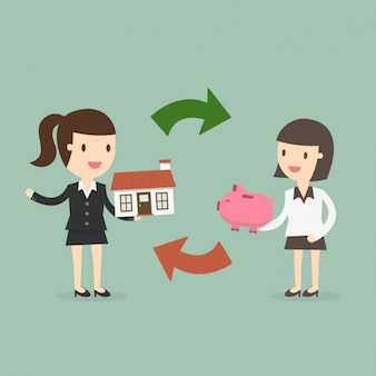 Woman buying a house
