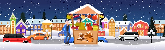 Woman buying present box in gifts stall christmas market winter fair concept  merry xmas holidays modern city street cityscape background full length sketch horizontal vector illustrationustratio