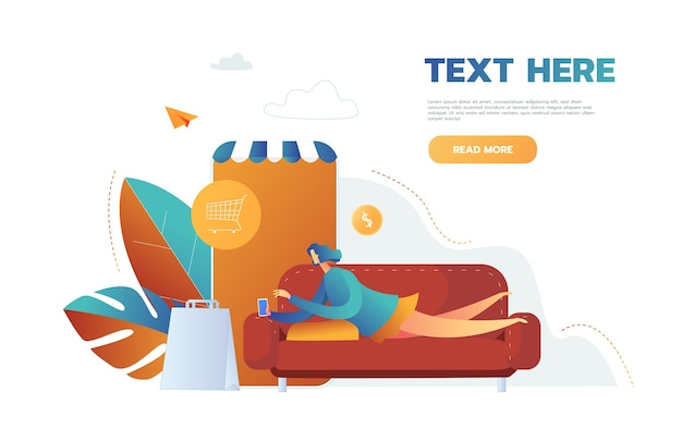 Женщина, покупающая вещи в интернет-магазине в мобильном приложении, вектор, лежа на диване