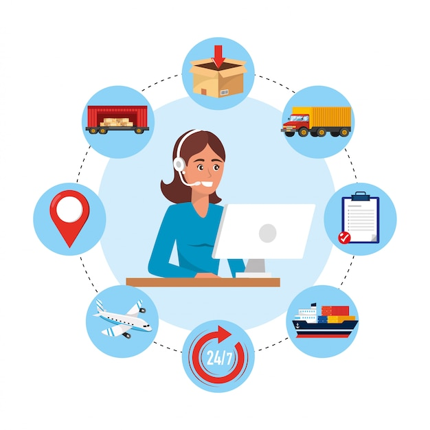 Woman call center agent with computer and delivery service