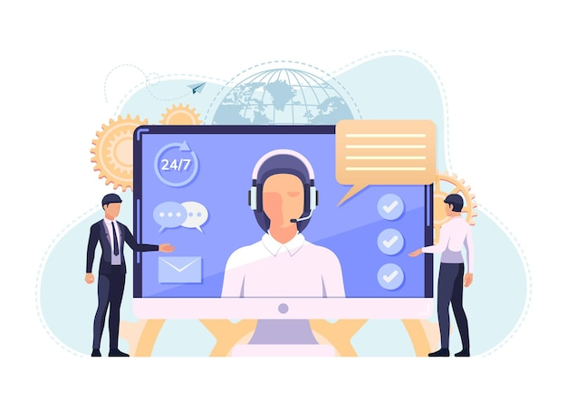Woman call center operator with headsets inside pc monitor. customer service and online support concept.