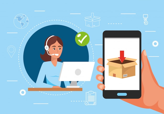 Woman call center service and hand with smartphone and box distribution