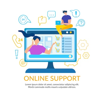 Woman call online support. man operator with notebook