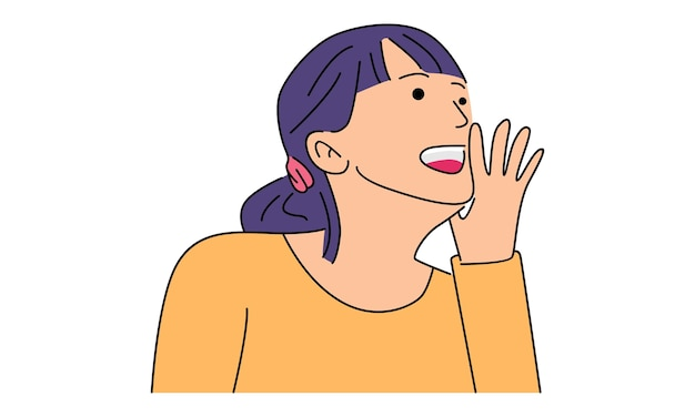 Woman calling someone shouting loud