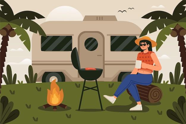 Donna in campeggio con un concetto di roulotte