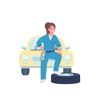 Woman car mechanic flat color detailed character. female technician. cheerful lady working in automobile repair service isolated cartoon illustration for web graphic design and animation
