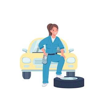 Женщина автомеханик плоский цвет подробный характер. женский техник. веселая дама, работающая в автосервисе, изолировала карикатурную иллюстрацию для веб-графического дизайна и анимации