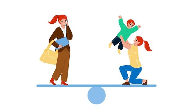 여성 경력 및 가족 생활 시간 균형 벡터입니다. 사업가 작업과 어머니는 아들의 삶의 결정을 가지고 노는. 캐릭터 소녀 직업 직업과 아이 플랫 만화 일러스트와 함께 여성 플레이