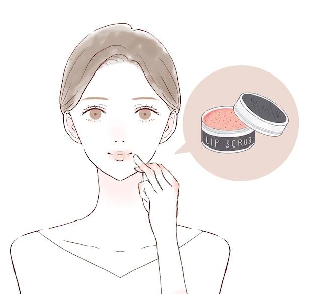 リップスクラブで唇をケアする女性。白い背景に。