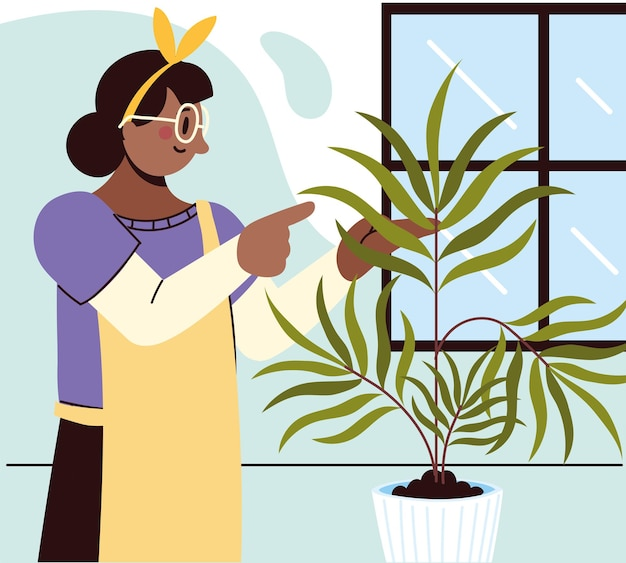 Woman caring a houseplant