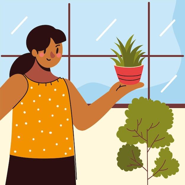 Woman caring houseplant