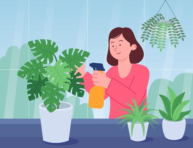 Женщина, ухаживающая за комнатными растениями, плоский рисунок