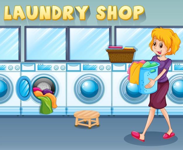 洗濯屋でかごを持っている女性