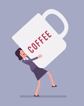 Woman carrying giant coffee mug