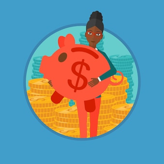 Woman carrying piggy bank vector illustration.
