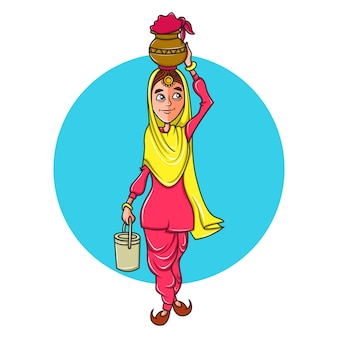 Woman carrying a pot on head and a box in hand.
