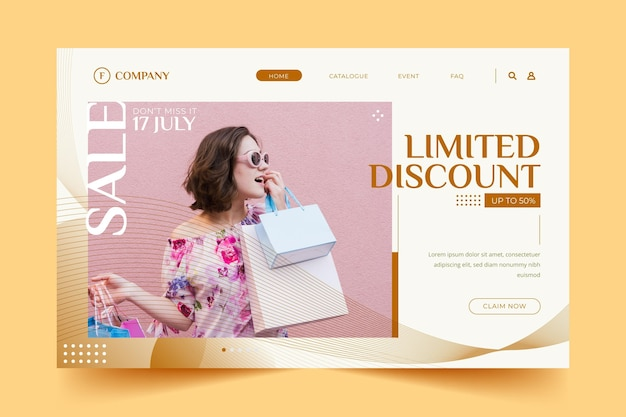 Woman carrying shopping bags fashion landing page