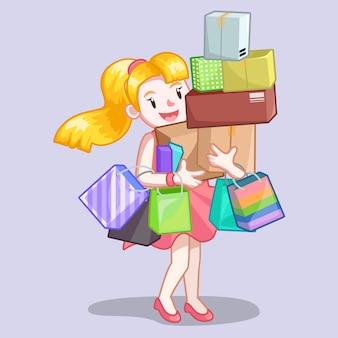 Женщина, перевозящих сумку и сумку