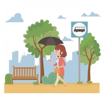 Woman cartoon and bus stop design