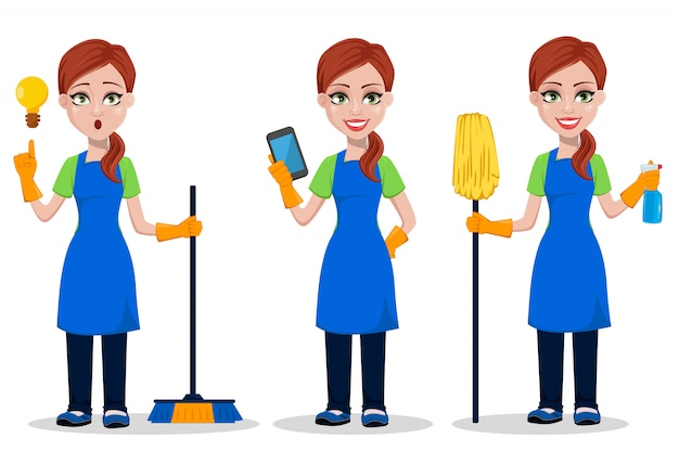 Woman cartoon character cleaner