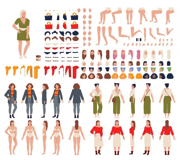 Woman cartoon character constructor set vector illustration