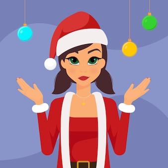 クリスマスボールとサンタクロースに扮した女性の漫画のキャラクター