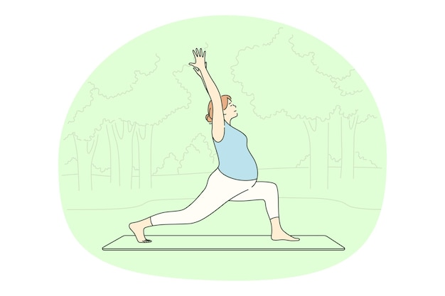 Woman cartoon character exercising and practicing yoga