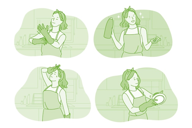 Woman cartoon character in gloves washing dishes in kitchen