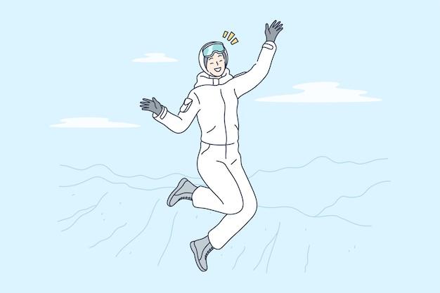 Женщина мультипликационный персонаж прыгает на вершину горы