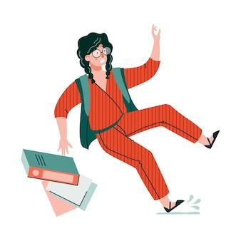 Женщина мультипликационный персонаж поскользнулся и упал на пол, плоский рисунок, изолированные на белом фоне. несчастный случай и травма в офисе или на рабочем месте.