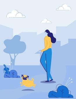 도시 공원에서 강아지 애완 동물과 함께 걷는 여자 만화 캐릭터